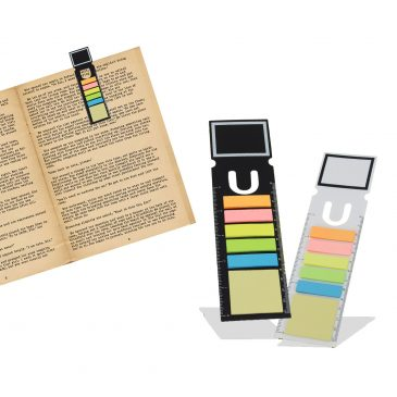 Bookmark With Sticky Notes And Ruler